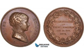 AB949, Sweden, Bronze Medal 1875 (Ø43.5mm, 33.5g) by Lindberg, Elise Hwasser, Famous Actress