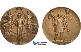 AB951, Sweden, Bronze 3rd Place Prize Medal 1912 (Ø33.5mm, 18.65g) by Mackennal & Lindberg, Stockholm Olympics, RR!!