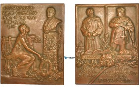 AB953, Sweden, Bronze Art Nouveau Plaque Medal 1914 (60x46mm, 90g) by Kulle, Arvid, Odmann, Famous Tenor