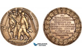 AB955, Sweden, Russia & Poland, Bronze Medal 1926 (Ø56mm, 80g) by Johnsson, Battles of Narva, Duna & Klizow