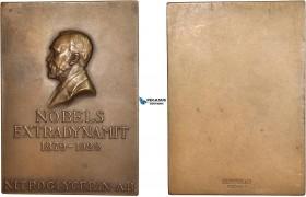 AB956, Sweden, Bronze Plaque Medal 1929 (59x42mm, 58g) by Sporrong, Alfred Nobel, Nitroglycerin