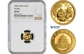 AB964-R, China, Panda 1/20 oz. 20 Yuan 2006, Gold, NGC MS69