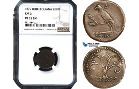 AB965, Dutch Guiana, Suriname, 2 Duit 1679, KM#3, NGC VF35BN, Extremely Rare! Pop 2/0