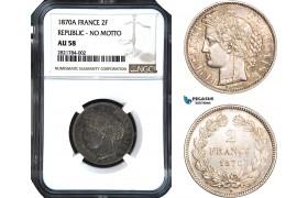 AB966, France, Third Republic, 2 Francs 1870-A, Paris, Silver, NGC AU58