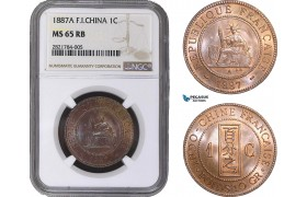 AB967, French Indo-China, 1 Centime 1887-A, Paris, NGC MS65RB, Pop 4/0