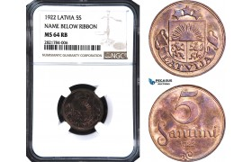 AB968, Latvia, 5 Santimi 1922, NGC MS64RB