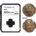 AB969, Lithuania, 10 Centu 1925, NGC MS64