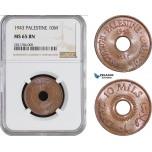AB971, Palestine, 10 Mils 1943, London, NGC MS65BN, Pop 3/2
