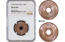 AB971, Palestine, 10 Mils 1943, London, NGC MS65BN, Pop 3/2
