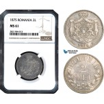 AB976, Romania, Carol I, 2 Lei 1875, Brussels, Silver, NGC MS61