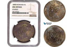 AB977, Romania, Carol I, 5 Lei 1885-B, Bucharest, NGC UNC Det. Rare!