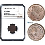 AB979, Straits Settlements, Victoria, 1/4 Cent 1901, NGC MS62BN