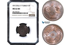 AB981, Ottoman Empire (Turkey) Abdülmecid, 5 Para AH1255/17, NGC MS62BN, Pop 1/0