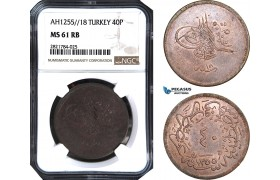 AB982, Ottoman Empire (Turkey) Abdülmecid, 40 Para AH1255/18, NGC MS61RB, Pop 1/0