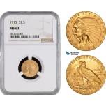 AB983-R, United States, Indian Head, 2.5 Dollars 1915, Philadelphia, Gold, NGC MS63