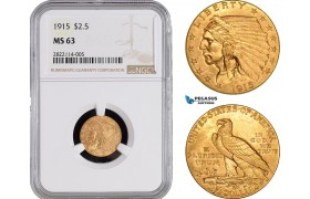 AB983-R, United States, Indian Head, 2.5 Dollars 1915, Philadelphia, Gold, NGC MS63