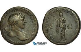 AB989, Roman Empire, Trajan (AD 98-117) Æ Sestertius (27.90g) Rome, AD 109-110., Spes