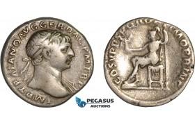 AB991, Roman Empire, Trajan (AD 98-117) AR Denarius (3.11g) Rome, AD 108-109., Roma