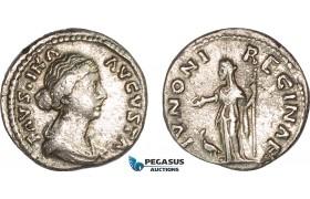 AC001, Roman Empire, Faustina II (AD 147-175) AR Denarius (3.24g) Rome, AD 161-164, Juno