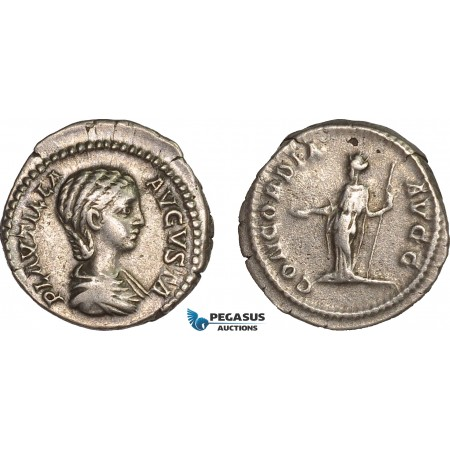 AC010, Roman Empire, Plautilla (AD 202-205) AR Denarius (3.05g) Rome, AD 202-203, Concordia