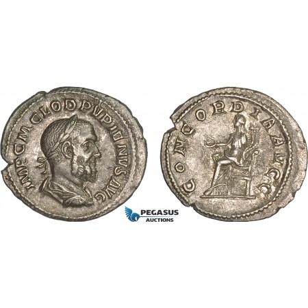 AC017, Roman Empire, Pupienus (AD 238) AR Denarius (2.59g) Rome, AD 238, Concordia