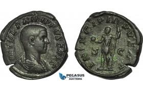 AC021, Roman Empire, Philip II (AD 247-249) Æ Sestertius (18.30g) Rome, AD 246, Standing Emperor
