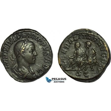 AC022, Roman Empire, Philip II (AD 247-249) Æ Sestertius (15.92g) Rome, AD 248, Philip I & Philip II