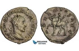 AC024, Roman Empire, Trajan Decius (AD 249-251) BL Antoninian (3.12g) Rome, AD 250, Emperor on horseback