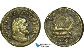 AC030, Roman Empire, Postumus (AD 260-269) Ӕ Double Sestertius (14.32g) Lugdunum, AD 261, Galley