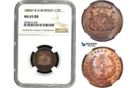 AC033, British North Borneo, 1/2 Cent 1886-H, Heaton, NGC MS65RB (looks SP)