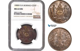 AC034, British North Borneo, 1 Cent 1888-H, Heaton, NGC MS63BN