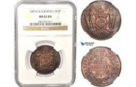 AC035, British North Borneo, 1 Cent 1891-H, Heaton, NGC MS65BN