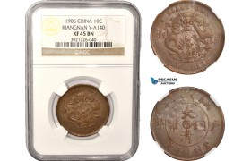 AC038, China, Kiangnan, 10 Cash 1906, Y# A140, NGC XF45BN