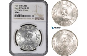 "AC039, China ""Memento"" Dollar 1927, Silver, NGC MS64"