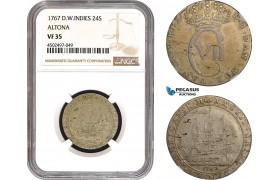 AC041, Danish West Indies, Christian VII, 24 Skilling 1767, Altona, Silver, NGC VF35