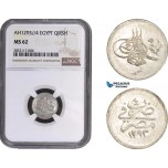 AC042, Ottoman Empire, Egypt, Abdulhamid II, 1 Qirsh AH1293/4, Misr, Silver, NGC MS62, Pop 1/2