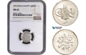 AC042, Ottoman Empire, Egypt, Abdulhamid II, 1 Qirsh AH1293/4, Misr, Silver, NGC MS62, Pop 1/2