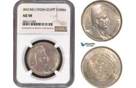 AC043, Egypt, Fuad, 10 Piastres 1923-H, Heaton, Silver, NGC AU58