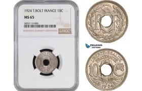 AC045-R, France, Third Republic, 10 Centimes 1924 (Thunderbold) Paris, NGC MS65, Pop 1/1