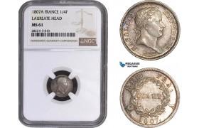 AC046, France, Napoleon, 1/4 Franc 1807-A, Paris, Silver, NGC MS61 (Laureate Head)