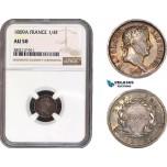 AC047, France, Napoleon, 1/4 Franc 1809-A, Paris, Silver, NGC AU50
