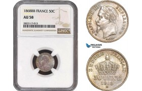 AC048, France, Napoleon III, 50 Centimes 1868-BB, Strasbourg, Silver, NGC AU58