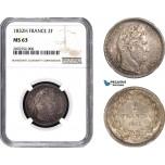 AC052, France, Louis Philippe, 2 Francs 1832-H, La Rochelle, Silver, NGC MS63, Pop 1/0