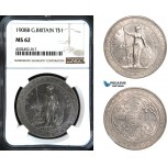 AC054, Great Britain, Trade Dollar 1908-B, Bombay, Silver, NGC MS62