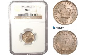 AC055, Greece, George I, 10 Lepta 1894-A, Paris, NGC MS64