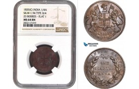 AC056, India (EIC) 1/4 Anna 1835 (C) Calcutta, S&W-1.94, Typ B/4, 23 Berries, Flat 1, NGC MS64BN