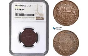AC057, India (EIC) 1/4 Anna 1858, NGC AU58BN