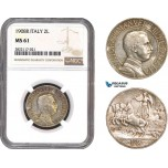 AC059, Italy, Vit. Emanuele III, 2 Lire 1908-R, Rome, Silver, NGC MS61