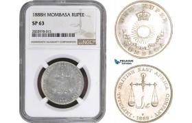 AC062, Mombasa, 1 Rupee 1888-H, Heaton, Silver, NGC SP63