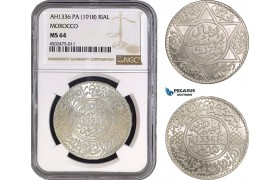 AC063, Morocco, Yusuf, Rial (10 Dirhams) AH1336-Pa (1918) Paris, Silver, NGC MS64